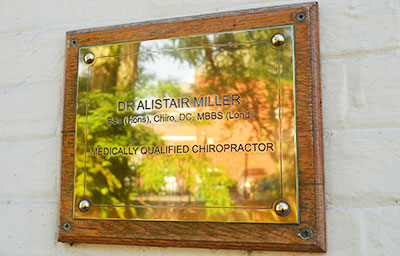 plaque outside chiropractor Dr Alistair Miller